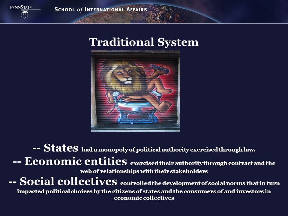 Traditional System -- States had a monopoly of political authority exercised through law. -- Economic entities exercised their authority through contr