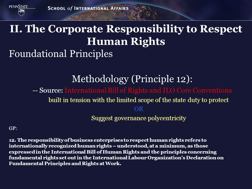 II. The Corporate Responsibility to Respect Human Rights Foundational Principles Methodology (Principle 12): -- Source: International Bill of Rights a