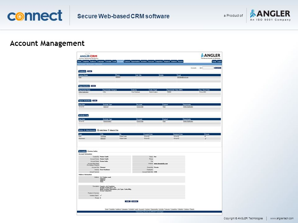 Account Management Copyright © ANGLER Technologieswww.angleritech.com Secure Web-based CRM software a Product of