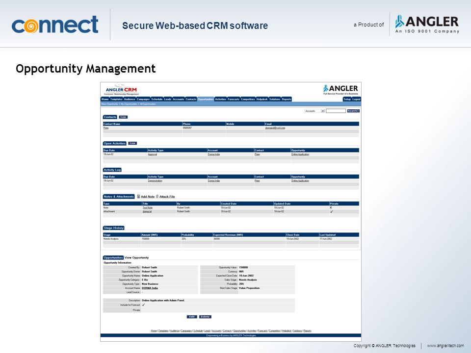 Opportunity Management Copyright © ANGLER Technologieswww.angleritech.com Secure Web-based CRM software a Product of