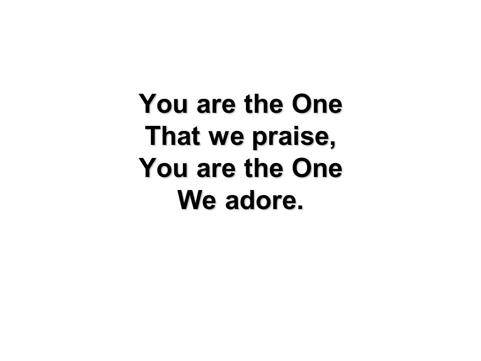 You are the One That we praise, You are the One We adore.