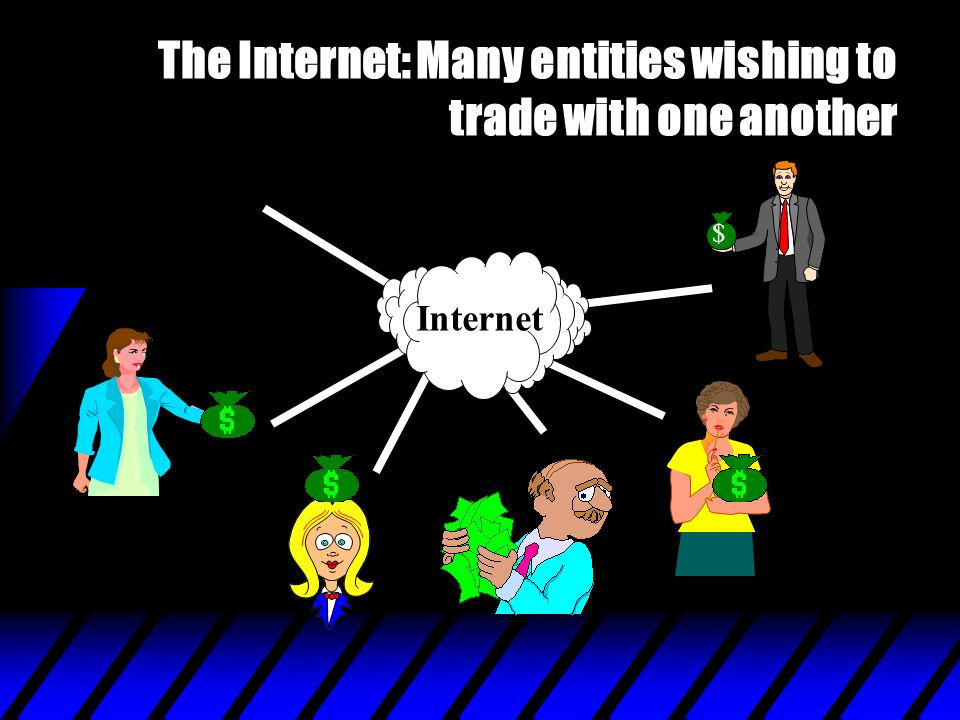 The Internet: Many entities wishing to trade with one another Internet $