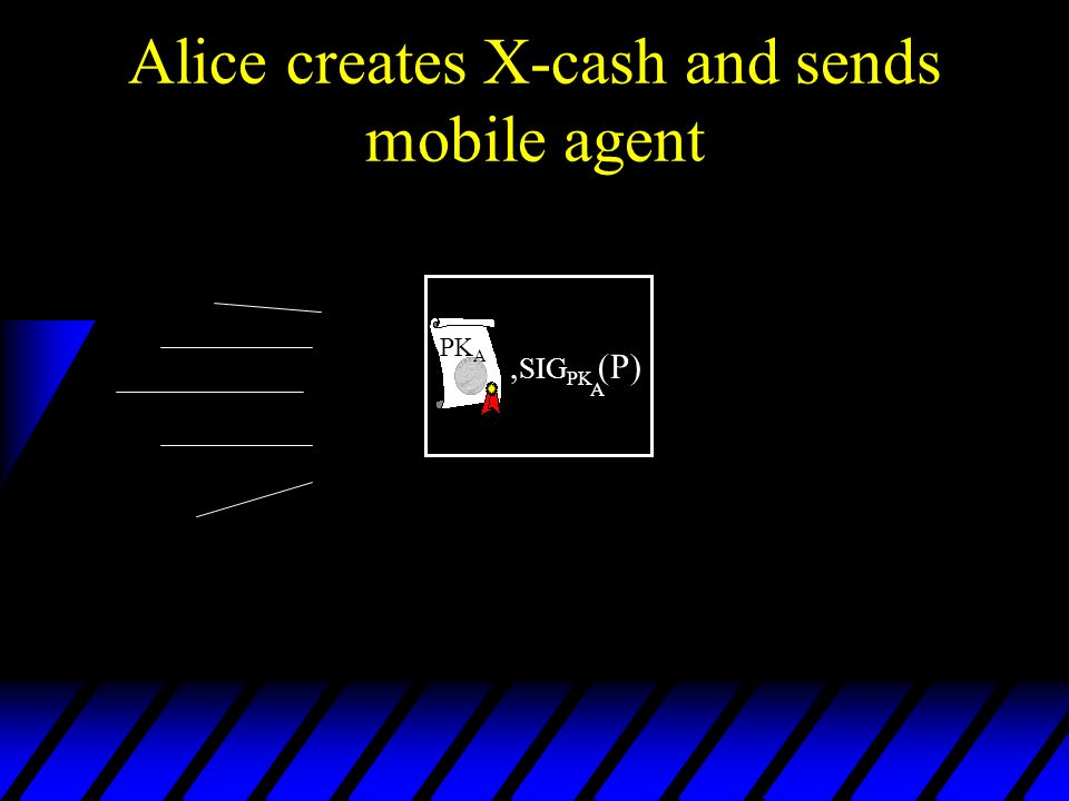 Alice creates X-cash and sends mobile agent, SIG PK (P) A PK A