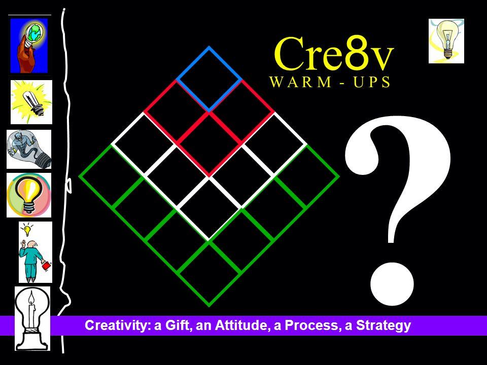 Creativity: a Gift, an Attitude, a Process, a Strategy Cre 8 v W A R M - U P S ?