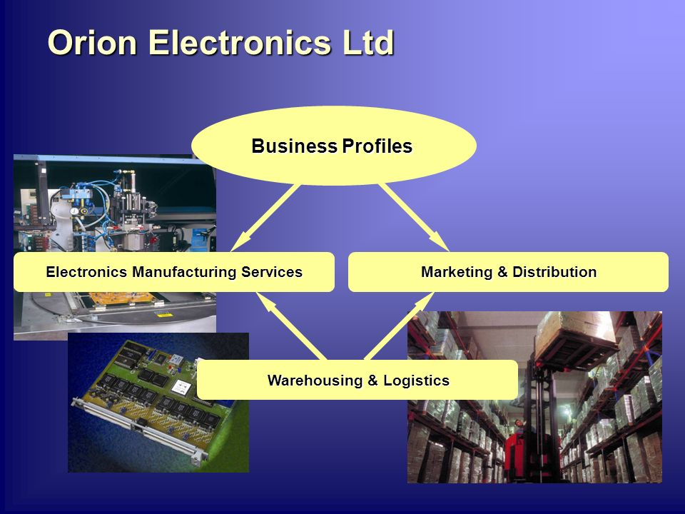 Orion Electronics Ltd Business Profiles Electronics Manufacturing Services Marketing & Distribution Warehousing & Logistics
