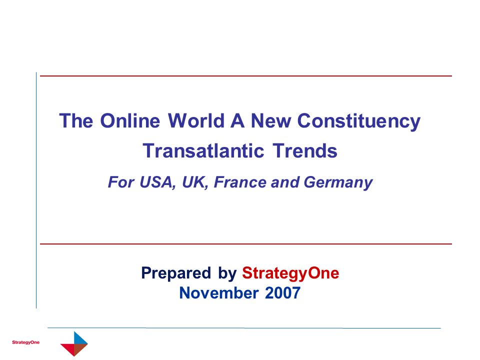 The Online World A New Constituency Transatlantic Trends For USA, UK, France and Germany Prepared by StrategyOne November 2007