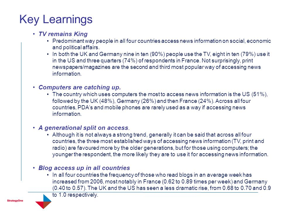 Key Learnings TV remains King Predominant way people in all four countries access news information on social, economic and political affairs. In both