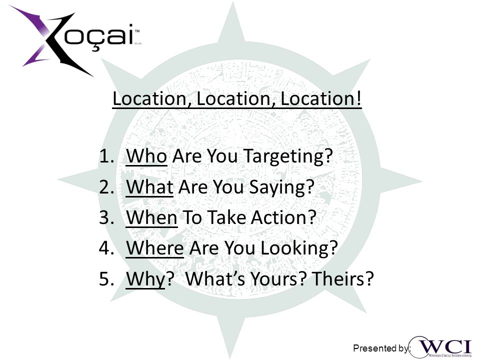 Location, Location, Location. 1.Who Are You Targeting.