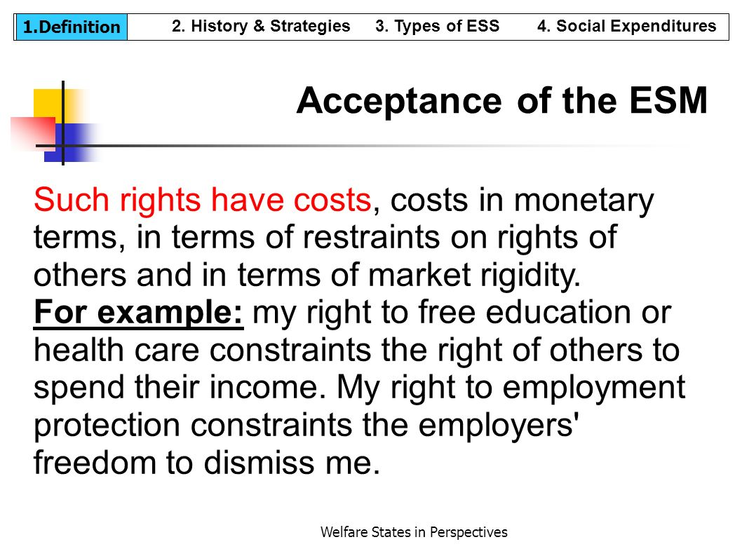 Welfare States in Perspectives Acceptance of the ESM Such rights have costs, costs in monetary terms, in terms of restraints on rights of others and i