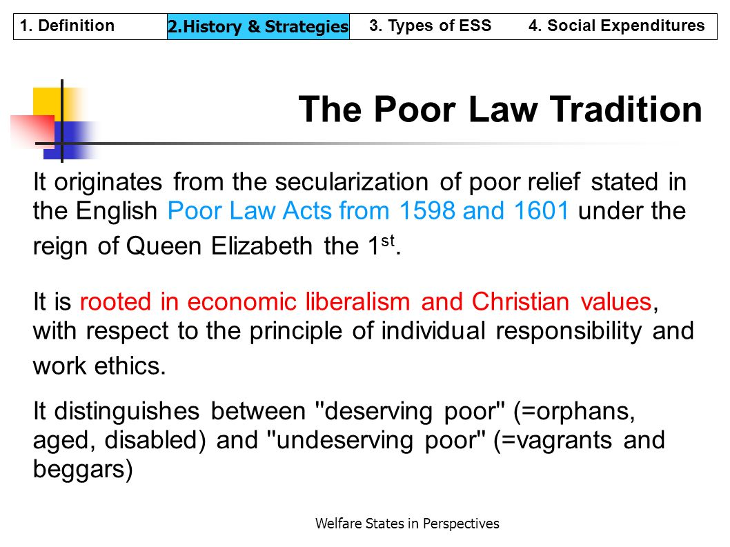 Welfare States in Perspectives The Poor Law Tradition It originates from the secularization of poor relief stated in the English Poor Law Acts from 15