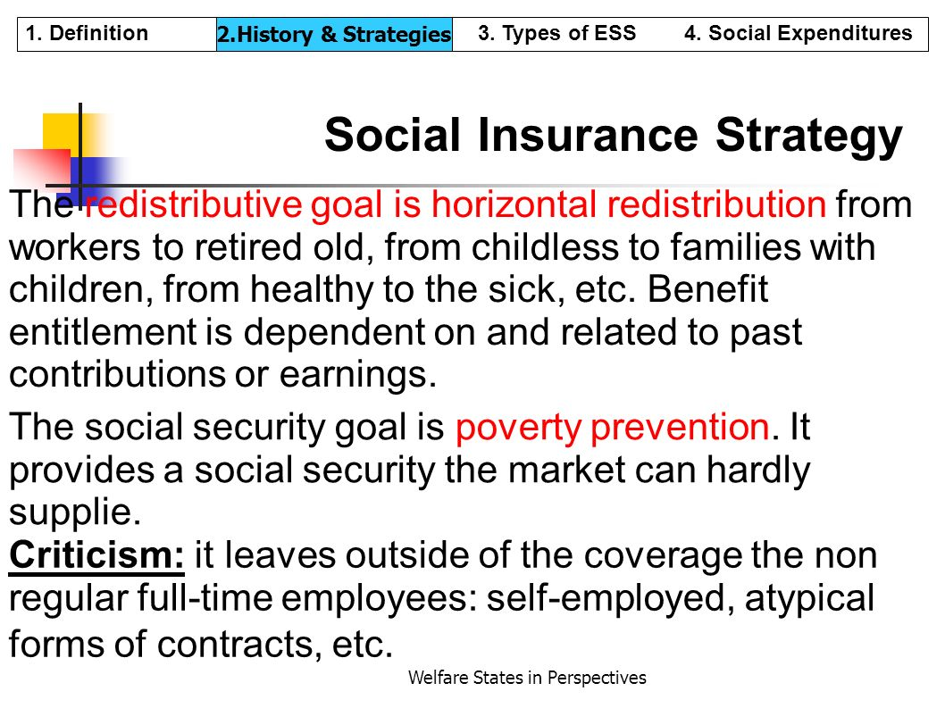 Welfare States in Perspectives Social Insurance Strategy The redistributive goal is horizontal redistribution from workers to retired old, from childl