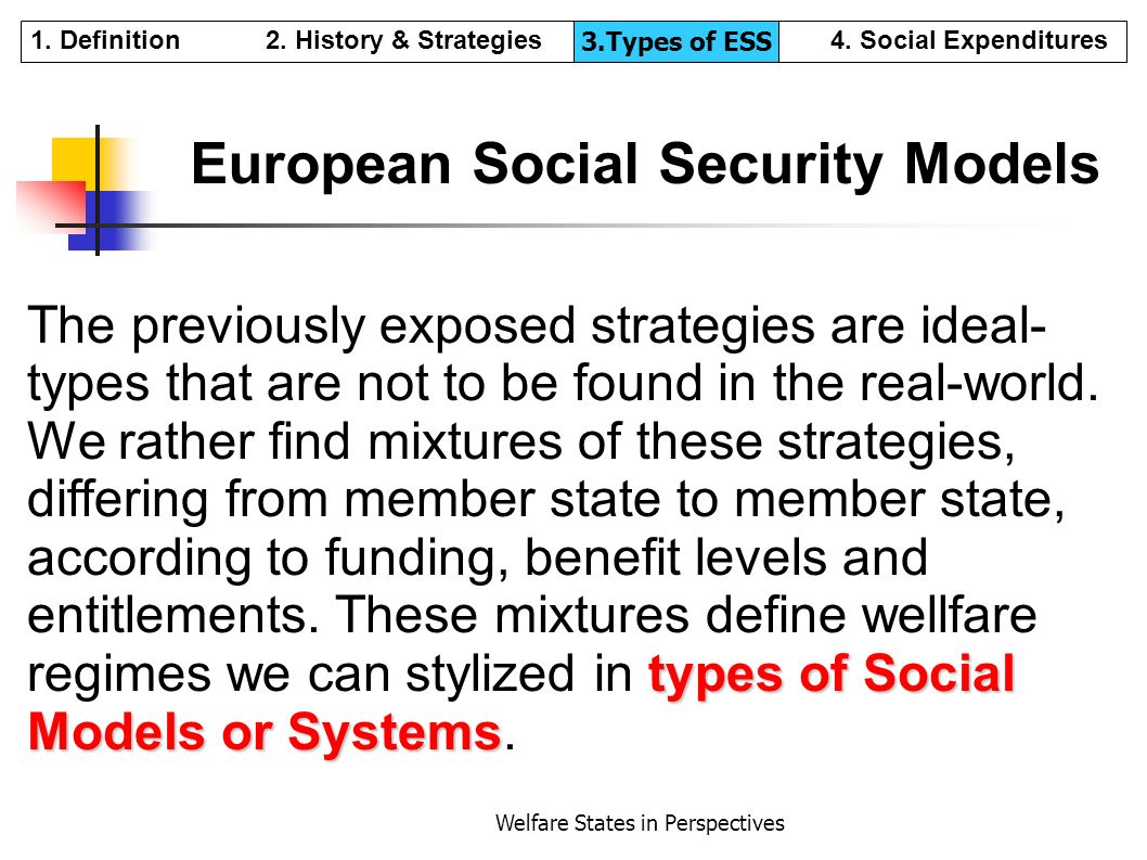 Welfare States in Perspectives European Social Security Models types of Social Models or Systems The previously exposed strategies are ideal- types th