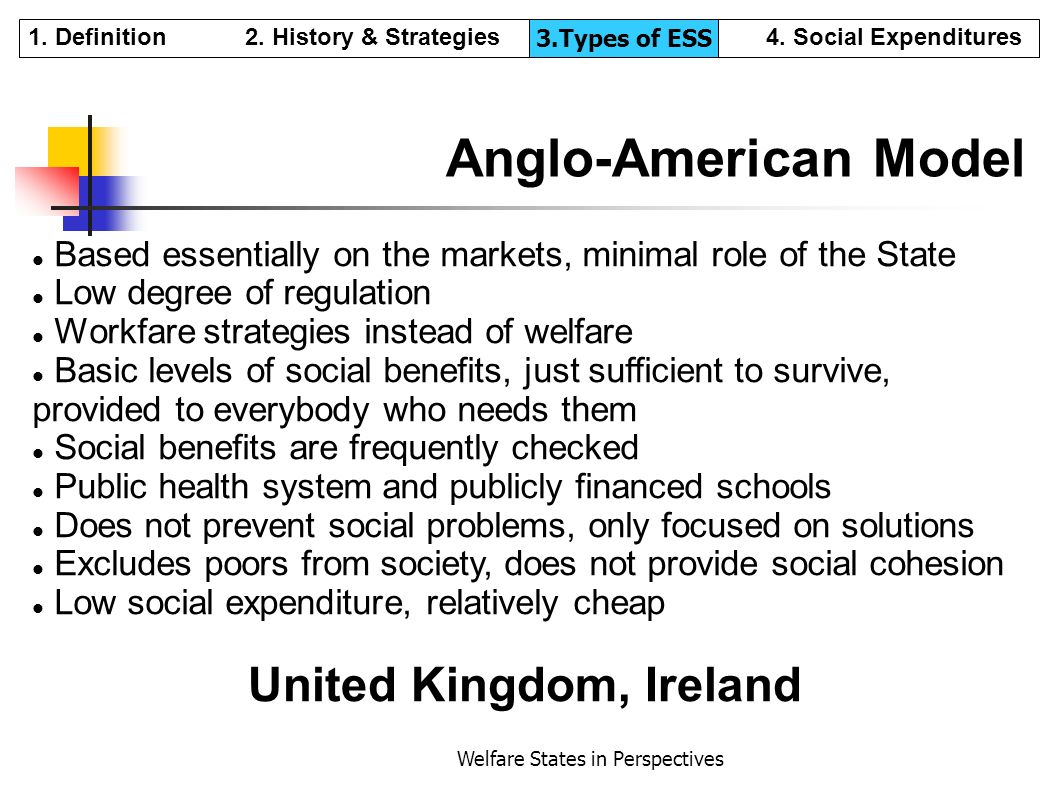 Welfare States in Perspectives Anglo-American Model Based essentially on the markets, minimal role of the State Low degree of regulation Workfare stra