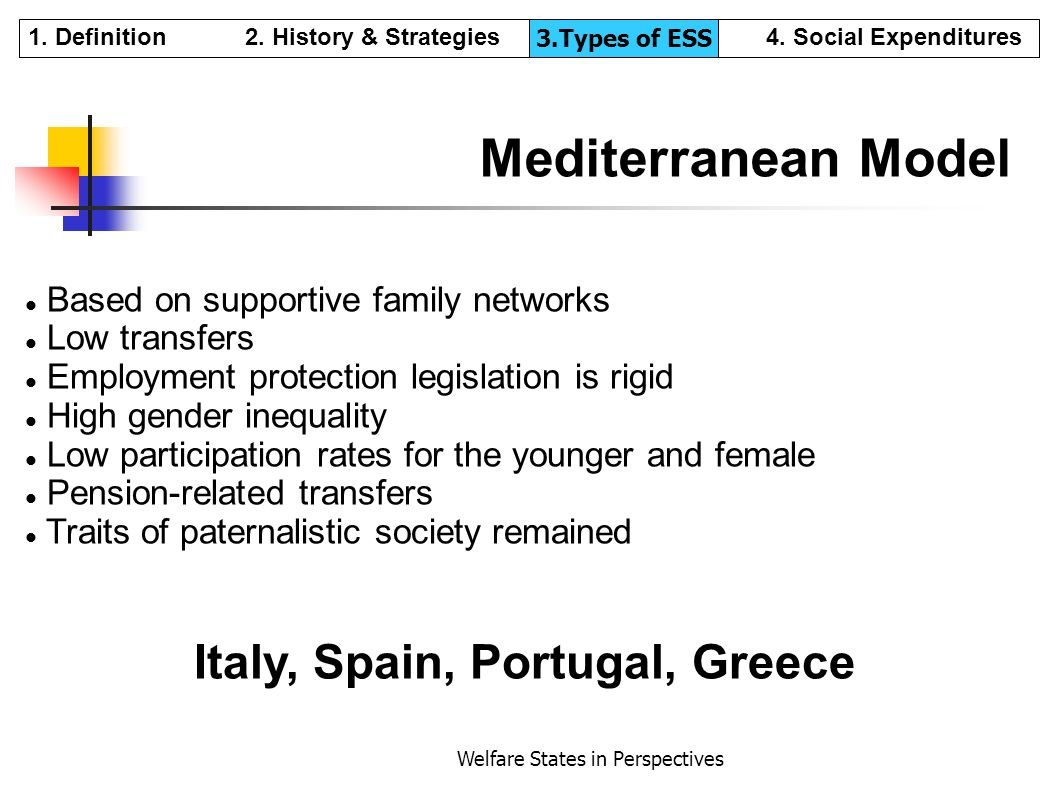 Welfare States in Perspectives Mediterranean Model Based on supportive family networks Low transfers Employment protection legislation is rigid High g
