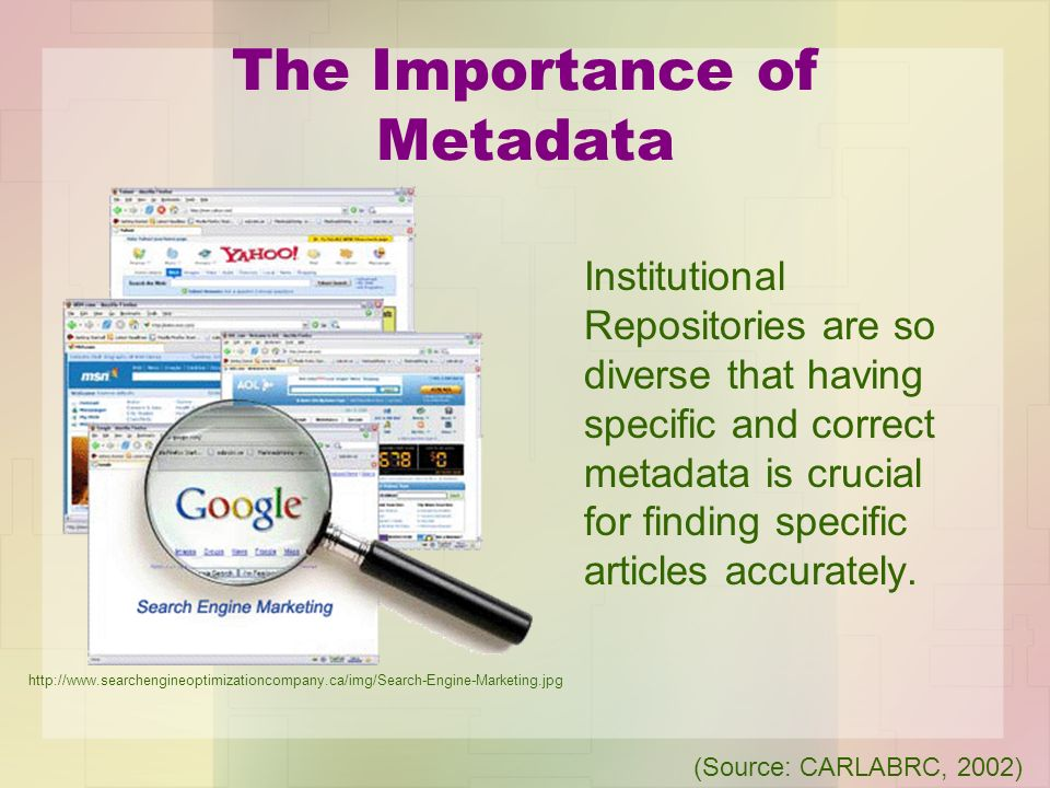 The Importance of Metadata Institutional Repositories are so diverse that having specific and correct metadata is crucial for finding specific article