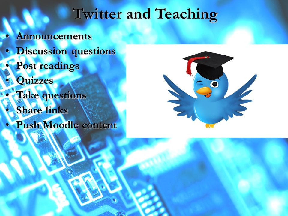 Twitter and Teaching AnnouncementsAnnouncements Discussion questionsDiscussion questions Post readingsPost readings QuizzesQuizzes Take questionsTake questions Share linksShare links Push Moodle contentPush Moodle content