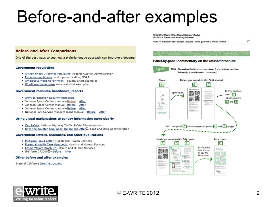 Before-and-after examples © E-WRITE 20129