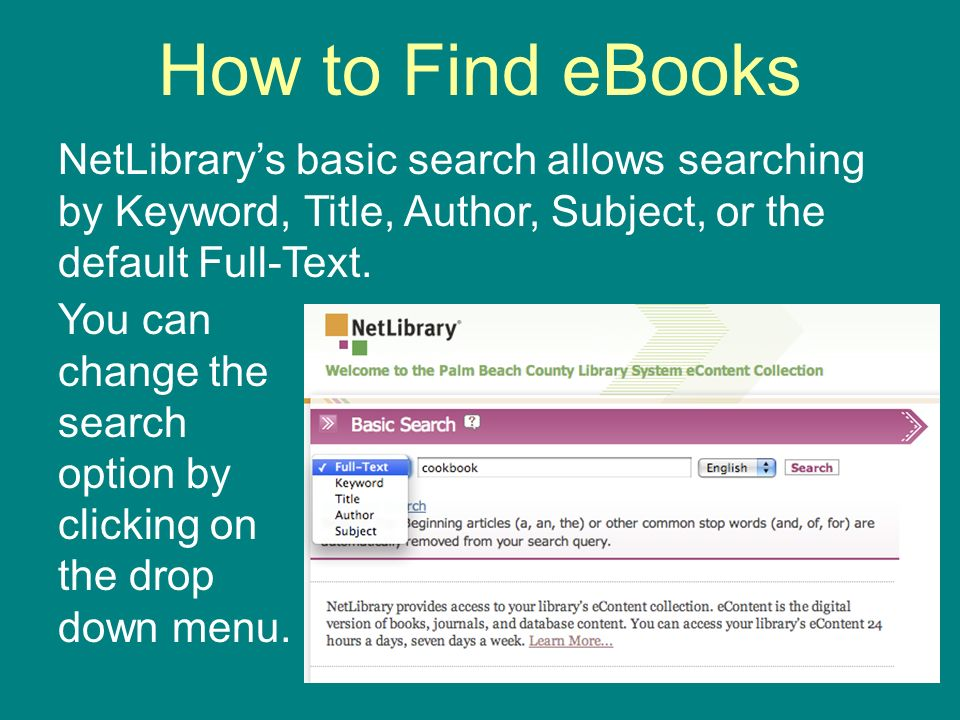 How to Find eBooks NetLibrarys basic search allows searching by Keyword, Title, Author, Subject, or the default Full-Text.