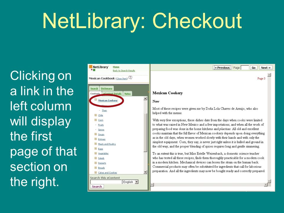 NetLibrary: Checkout Clicking on a link in the left column will display the first page of that section on the right.
