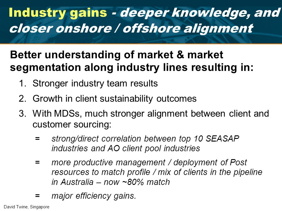 Better understanding of market & market segmentation along industry lines resulting in: 1.Stronger industry team results 2.Growth in client sustainabi
