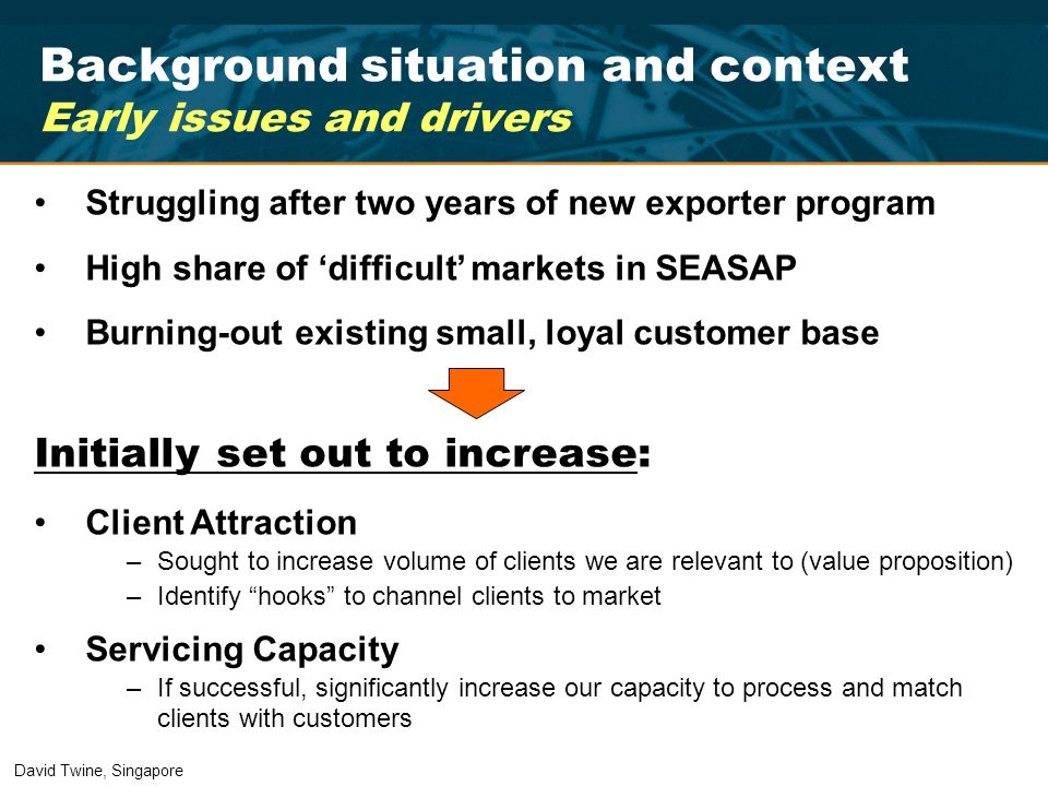 Background situation and context Early issues and drivers Struggling after two years of new exporter program High share of difficult markets in SEASAP