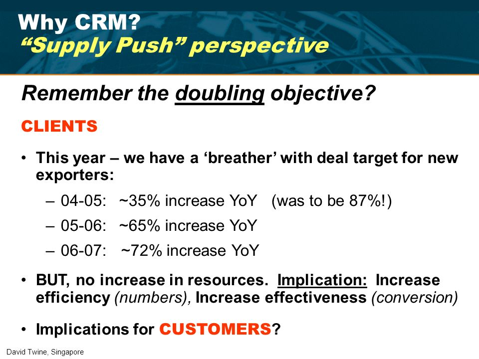 Why CRM? Supply Push perspective Remember the doubling objective? CLIENTS This year – we have a breather with deal target for new exporters: –04-05: ~