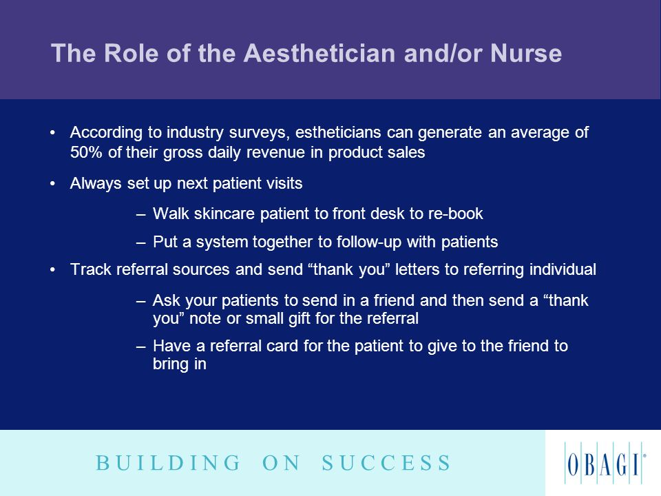 B U I L D I N G O N S U C C E S S The Role of the Aesthetician and/or Nurse According to industry surveys, estheticians can generate an average of 50%
