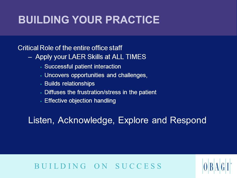 B U I L D I N G O N S U C C E S S BUILDING YOUR PRACTICE Critical Role of the entire office staff –Apply your LAER Skills at ALL TIMES w Successful pa