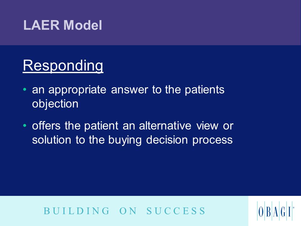 B U I L D I N G O N S U C C E S S LAER Model Responding an appropriate answer to the patients objection offers the patient an alternative view or solu