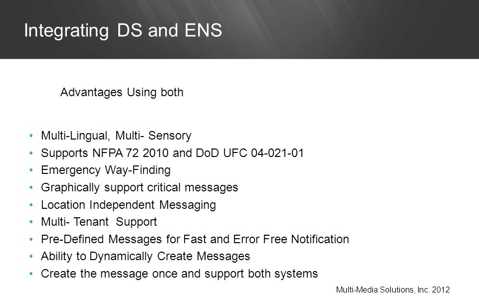 Multi-Lingual, Multi- Sensory Supports NFPA 72 2010 and DoD UFC 04-021-01 Emergency Way-Finding Graphically support critical messages Location Independent Messaging Multi- Tenant Support Pre-Defined Messages for Fast and Error Free Notification Ability to Dynamically Create Messages Create the message once and support both systems Integrating DS and ENS Multi-Media Solutions, Inc.