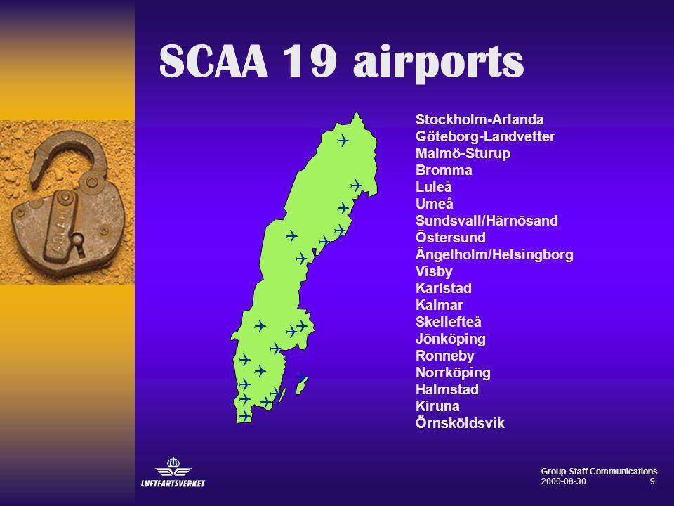 SCAA 19 airports Stockholm-Arlanda Göteborg-Landvetter Malmö-Sturup Bromma Luleå Umeå Sundsvall/Härnösand Östersund Ängelholm/Helsingborg Visby Karlst