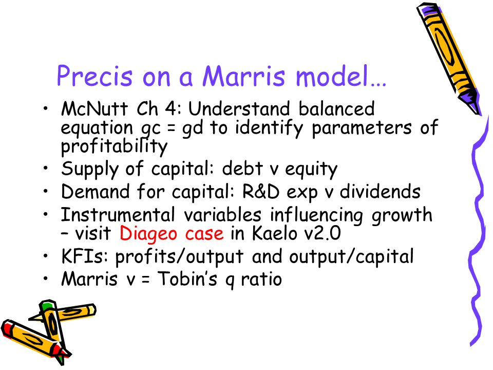 Precis on a Marris model… McNutt Ch 4: Understand balanced equation gc = gd to identify parameters of profitability Supply of capital: debt v equity D