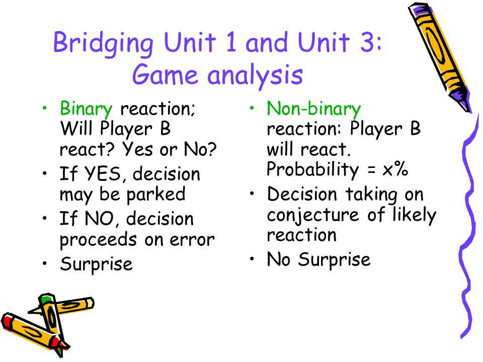 Bridging Unit 1 and Unit 3: Game analysis Binary reaction; Will Player B react? Yes or No? If YES, decision may be parked If NO, decision proceeds on