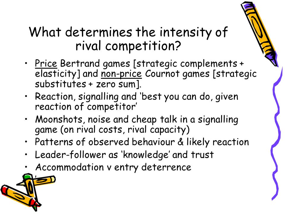 What determines the intensity of rival competition? Price Bertrand games [strategic complements + elasticity] and non-price Cournot games [strategic s