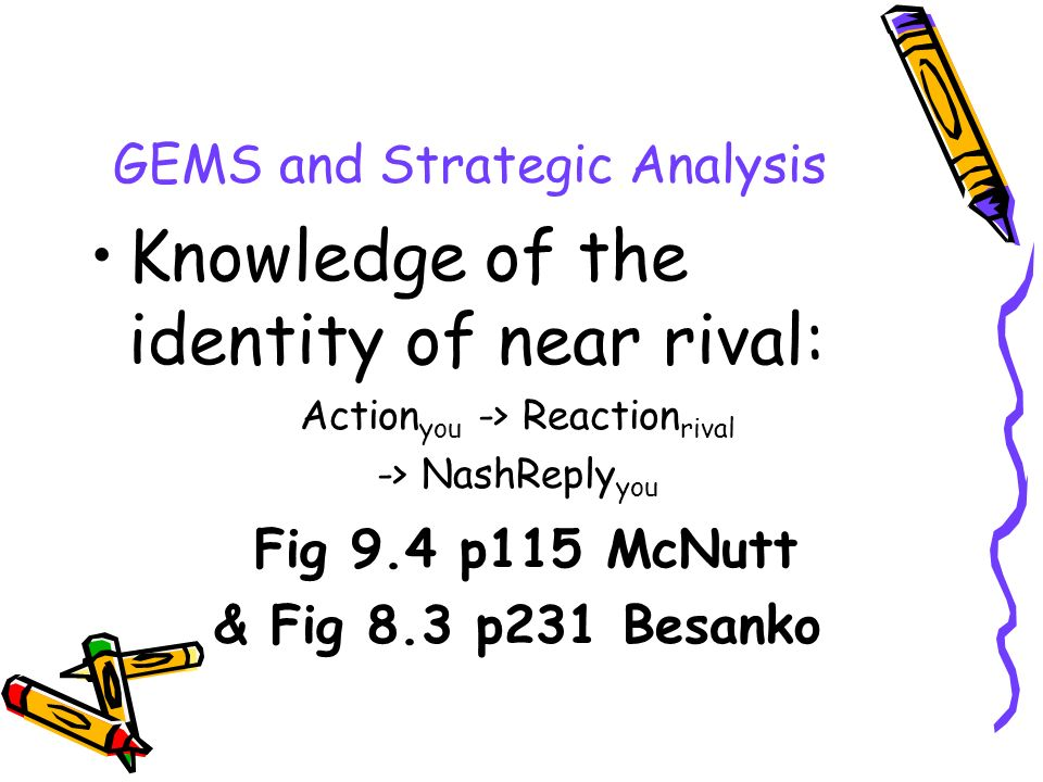 GEMS and Strategic Analysis Knowledge of the identity of near rival: Action you -> Reaction rival -> NashReply you Fig 9.4 p115 McNutt & Fig 8.3 p231