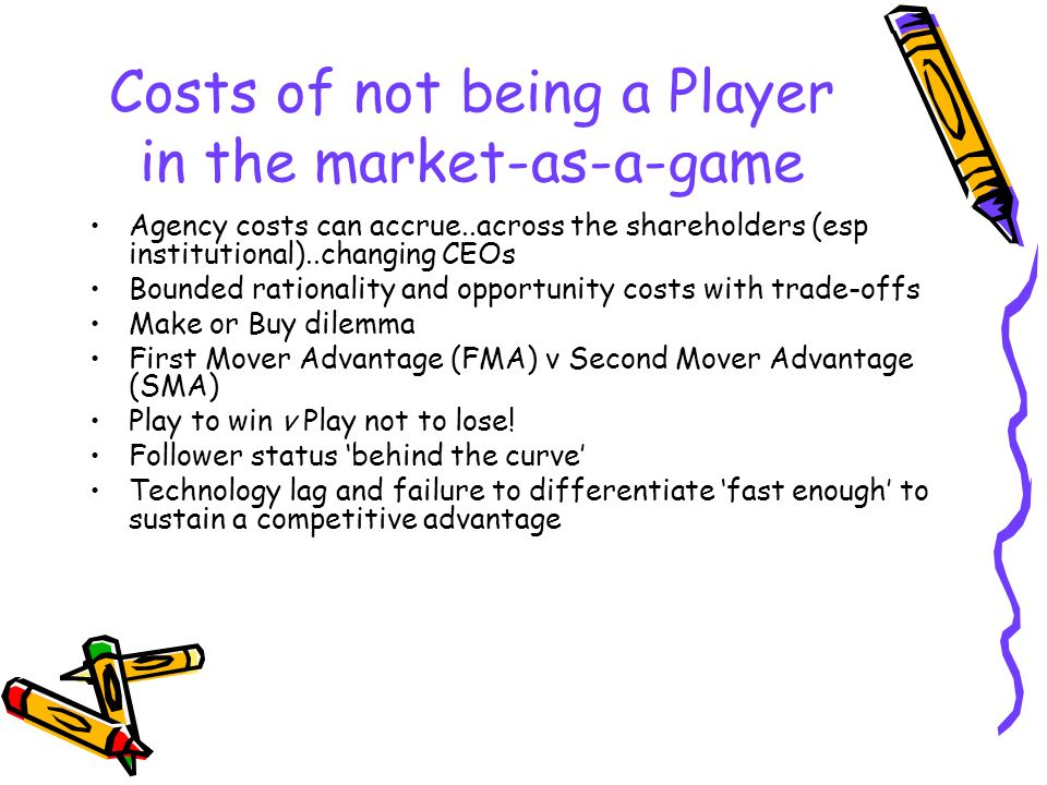 Costs of not being a Player in the market-as-a-game Agency costs can accrue..across the shareholders (esp institutional)..changing CEOs Bounded ration