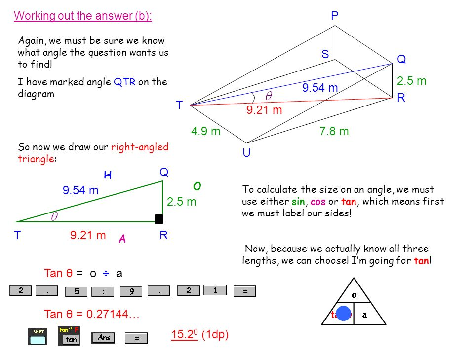 Working out the answer (b): Again, we must be sure we know what angle the question wants us to find! I have marked angle QTR on the diagram So now we
