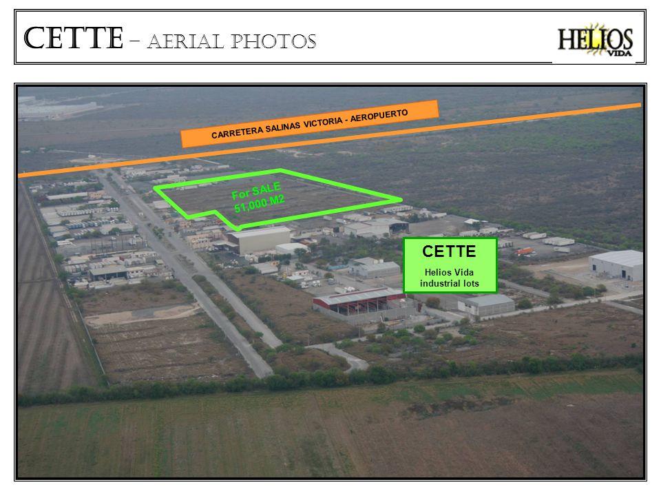 CETTe – aerial photos CARRETERA SALINAS VICTORIA - AEROPUERTO CETTE Helios Vida industrial lots For SALE 51,000 M2