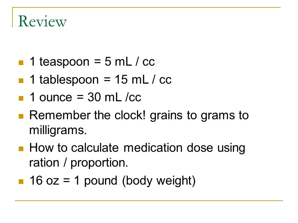One Teaspoon Equals How Many Cc's Review teaspoon mL cc