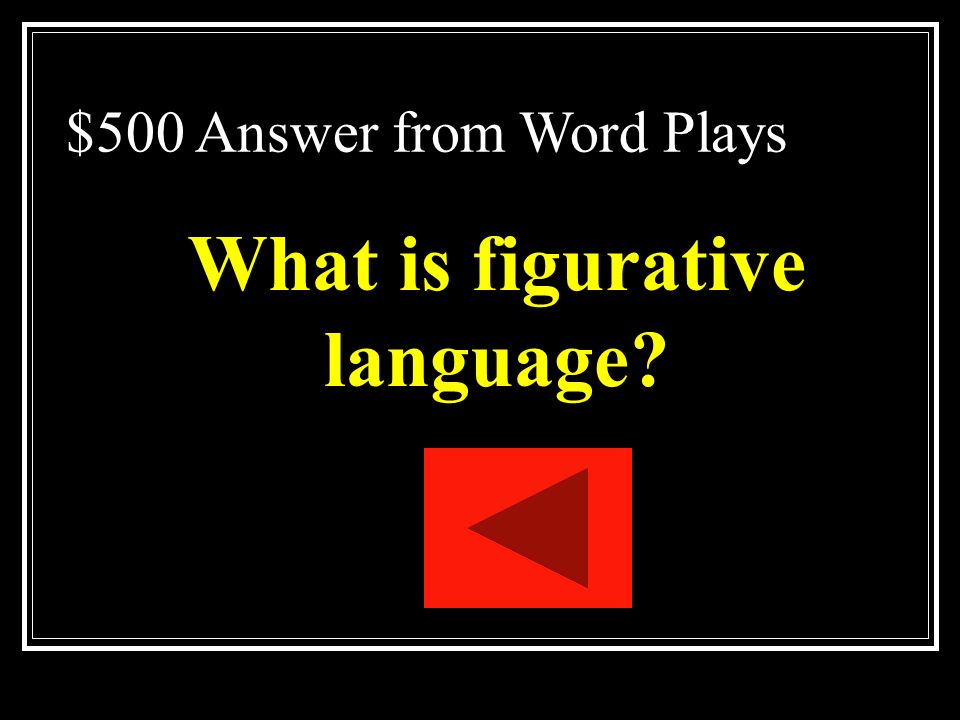 $500 Question from Word Plays The use of words, phrases, symbols, and ideas in such a way as to evoke mental images and sense impressions.