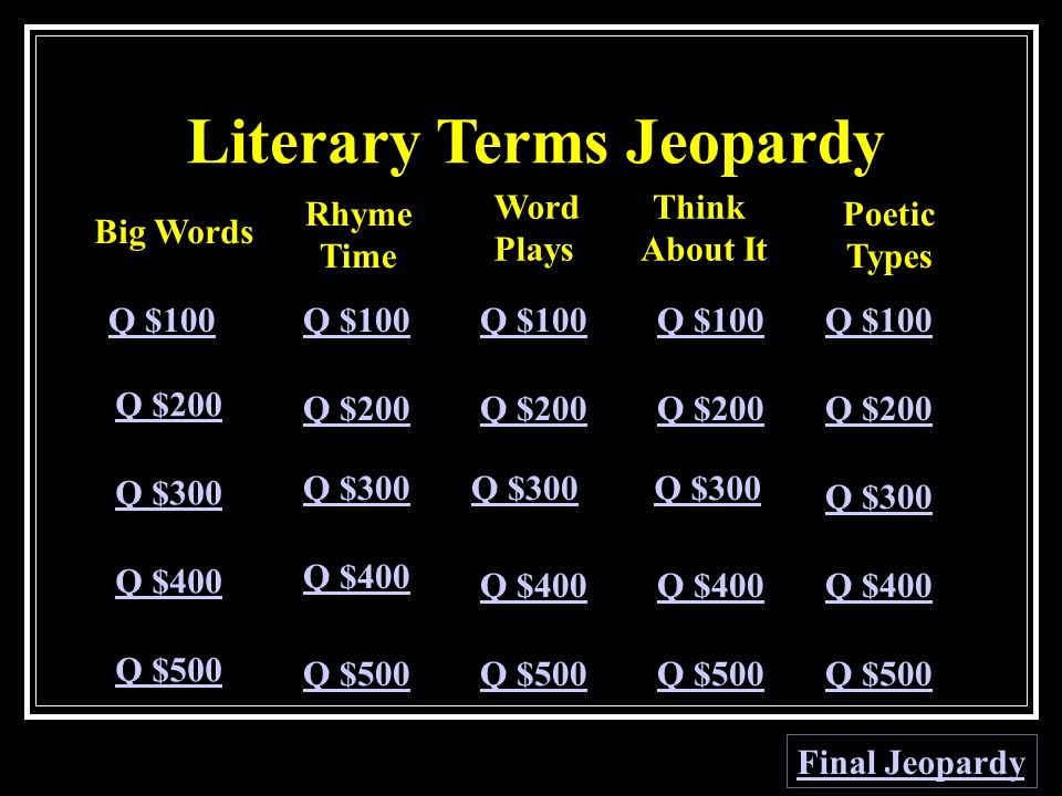 Literary Terms Jeopardy Big Words Rhyme Time Word Plays Think About It Poetic Types Q $100 Q $200 Q $300 Q $400 Q $500 Q $100 Q $200 Q $300 Q $400 Q $500 Final Jeopardy