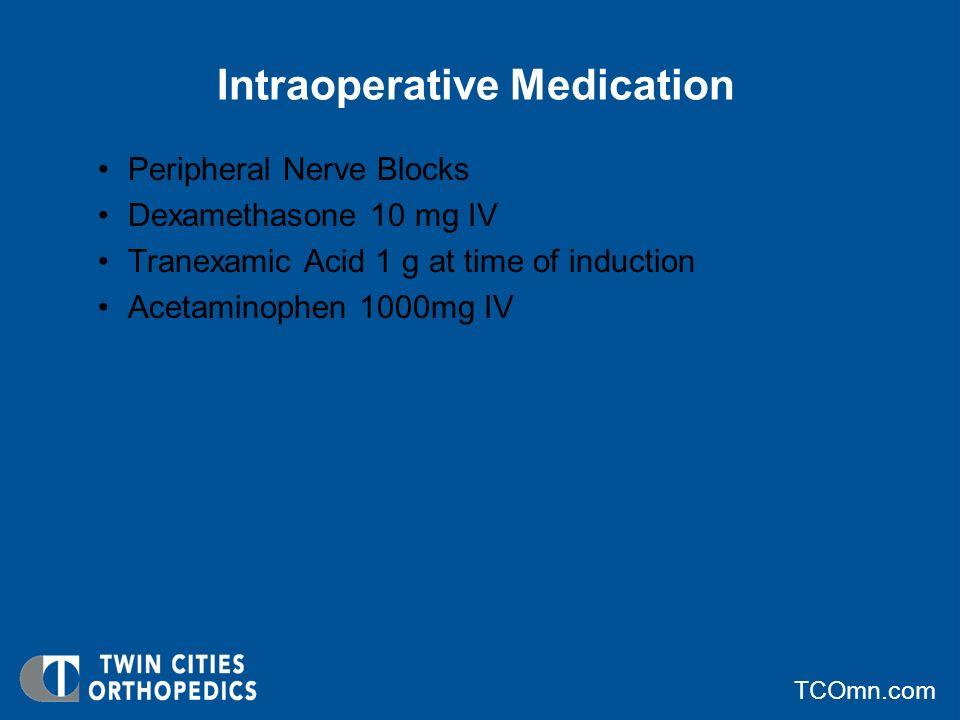 TCOmn.com Postoperative Medication Dilaudid 2-4 mg PO Q 4 hours PRN Oxycodone 5-20 mg 1-2 tablets PO every 6 hours PRN pain Oxycontin 10-20 mg PO BID PRN x 7 days Acetaminophen 650 mg PO Q 4-6 hours PRN Vistaril 25-50 mg PO q 6 hours PRN Diazepam 2.5-5 mg PO q HS Toradol 15-30 mg IV every 6 hours.