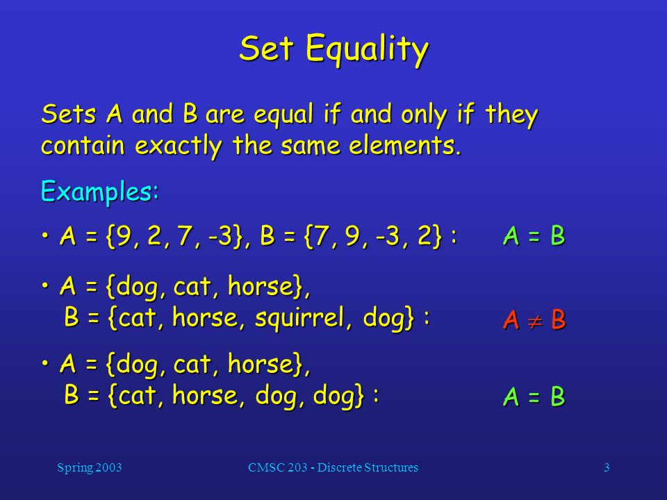 Spring 2003CMSC 203 - Discrete Structures3 Set Equality Sets A and B are equal if and only if they contain exactly the same elements. Examples: A = {9