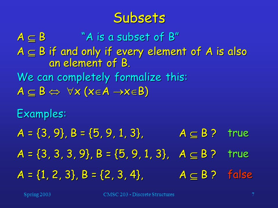 Spring 2003CMSC 203 - Discrete Structures7 Subsets A B A is a subset of B A B if and only if every element of A is also an element of B. We can comple