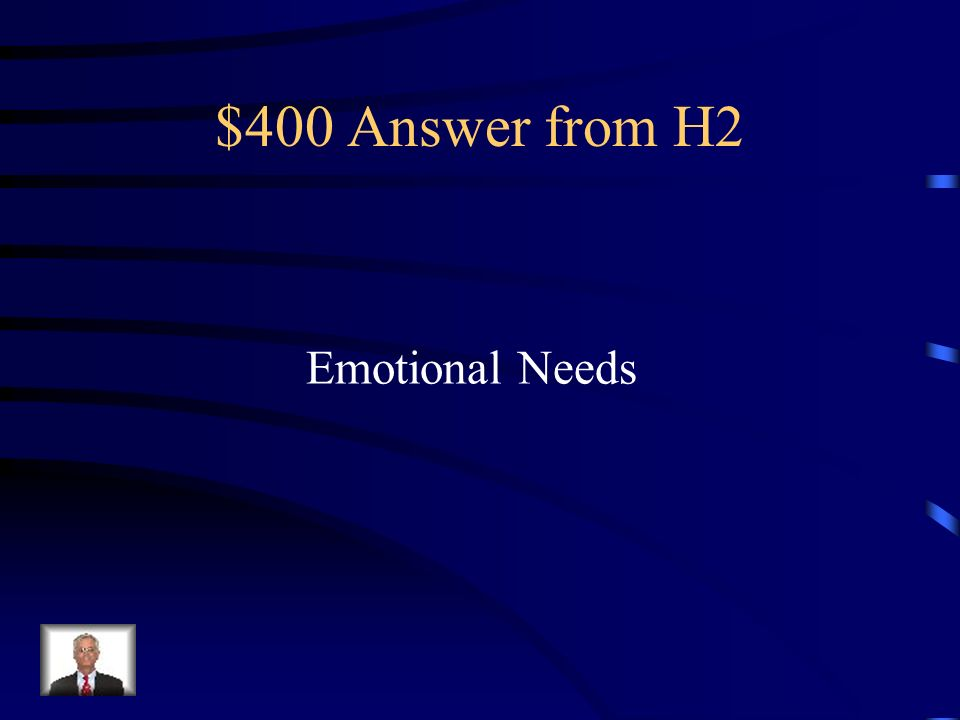 $400 Question from H2 Needs that affect your feelings and sense of well-being.