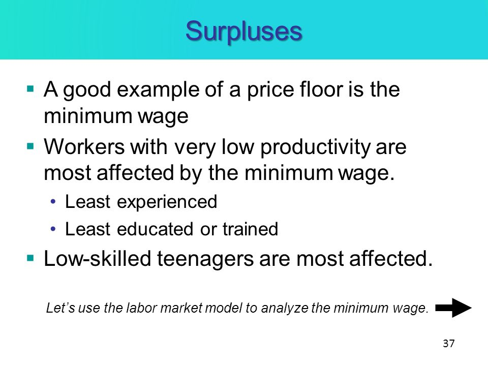 Surpluses A good example of a price floor is the minimum wage Workers with very low productivity are most affected by the minimum wage. Least experien