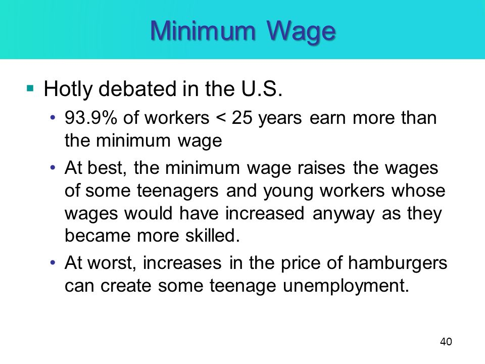 Minimum Wage Hotly debated in the U.S. 93.9% of workers < 25 years earn more than the minimum wage At best, the minimum wage raises the wages of some