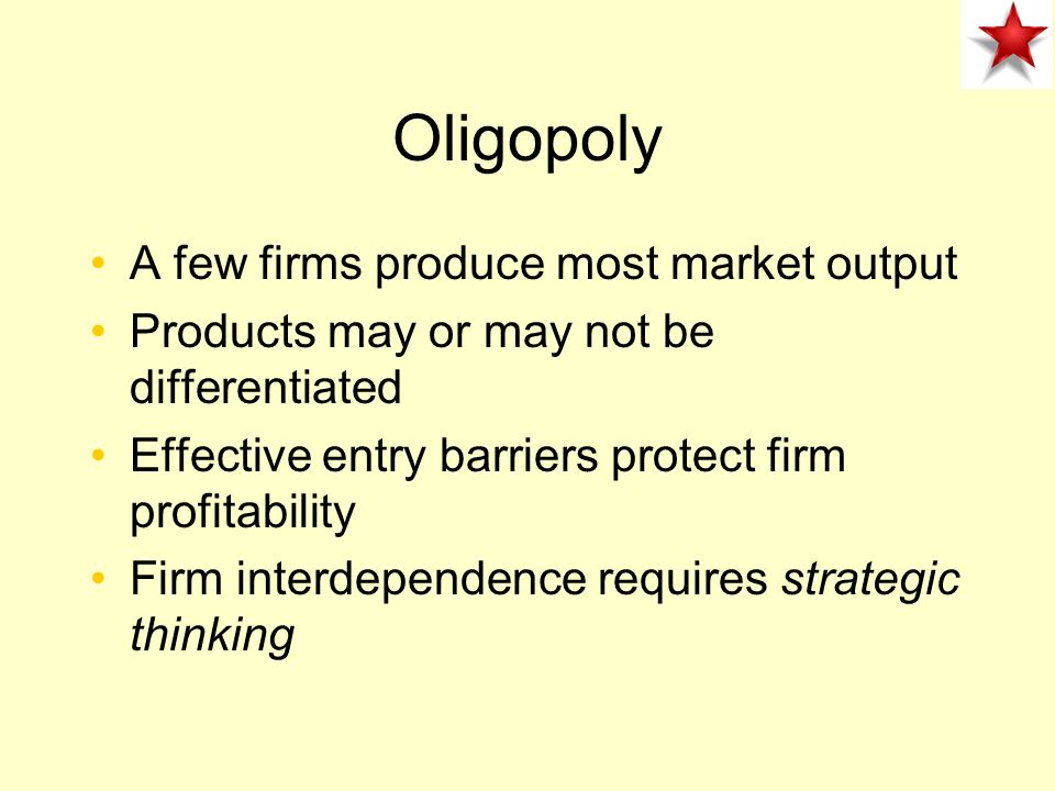 Monopoly Strong barriers to entry single supplier Profit maximization –faces market demand and sets MR=MC Unexploited gains from trade