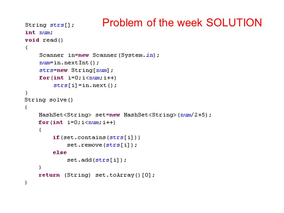Problem of the week SOLUTION