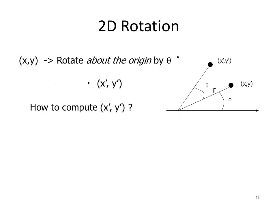 10 (x,y) (x,y) -> Rotate about the origin by (x, y) How to compute (x, y) ? r 2D Rotation